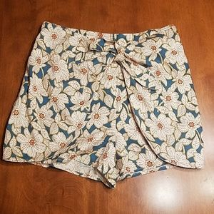 Anthropologie floral wrap shorts